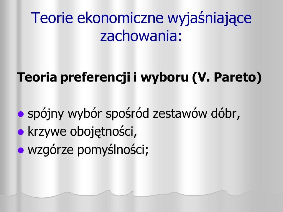 Teorie ekonomiczne wyjaśniające zachowania: Teoria preferencji i wyboru (V. Pareto) spójny wybór spośród zestawów dóbr, krzywe obojętności, wzgórze po