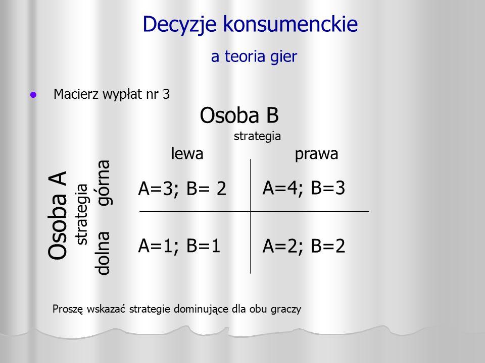 Decyzje konsumenckie a teoria gier Macierz wypłat nr 3 Osoba A strategia dolna górna A=3; B= 2 A=1; B=1 A=4; B=3 A=2; B=2 Osoba B strategia lewa prawa