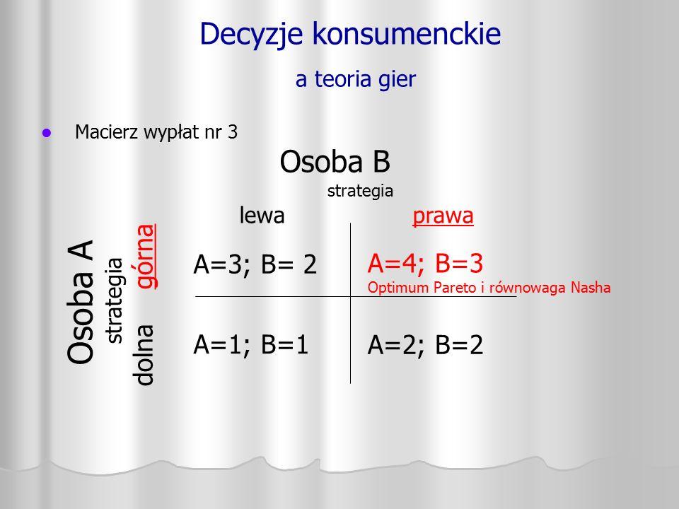 Decyzje konsumenckie a teoria gier Macierz wypłat nr 3 Osoba A strategia dolna górna A=3; B= 2 A=1; B=1 A=4; B=3 Optimum Pareto i równowaga Nasha A=2;