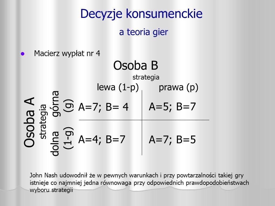 Decyzje konsumenckie a teoria gier Macierz wypłat nr 4 Osoba A strategia dolna górna (1-g) (g) A=7; B= 4 A=4; B=7 A=5; B=7 A=7; B=5 Osoba B strategia