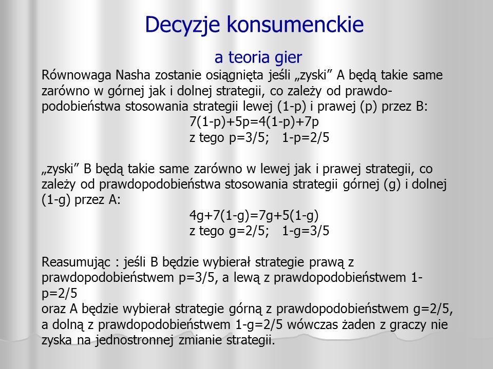 """Decyzje konsumenckie a teoria gier Równowaga Nasha zostanie osiągnięta jeśli """"zyski"""" A będą takie same zarówno w górnej jak i dolnej strategii, co zal"""