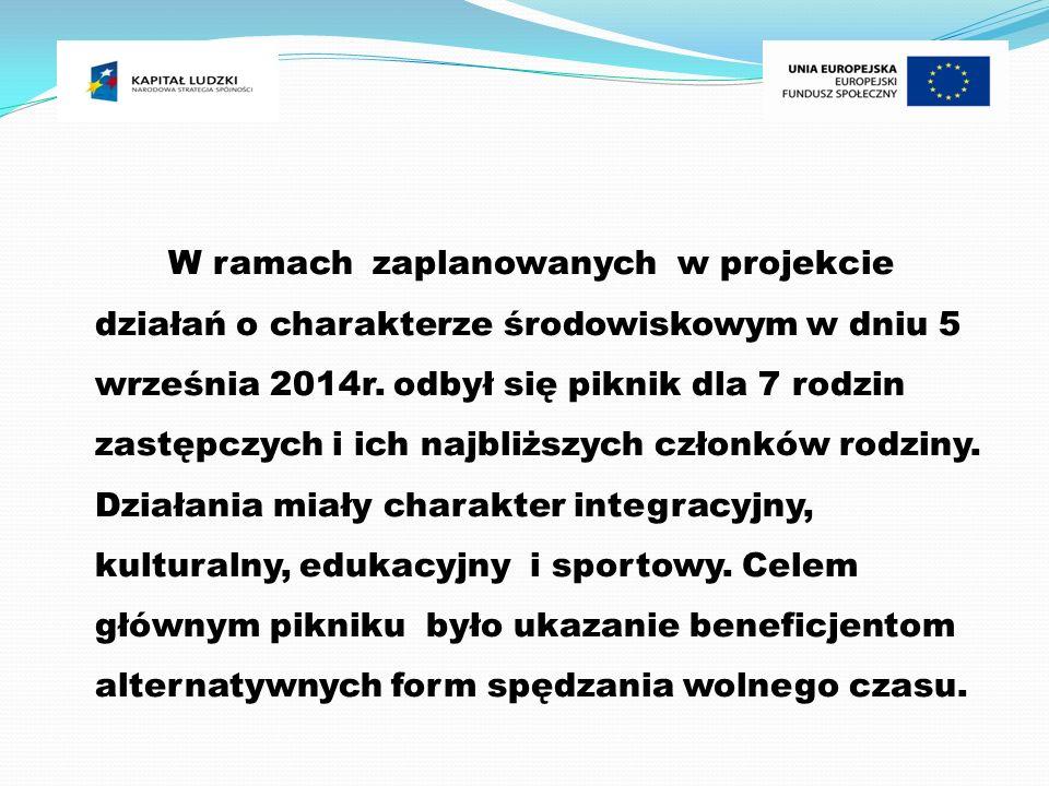 W ramach zaplanowanych w projekcie działań o charakterze środowiskowym w dniu 5 września 2014r.