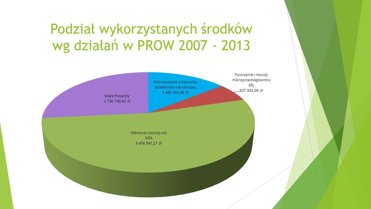 Podział wykorzystanych środków wg działań w PROW 2007 - 2013