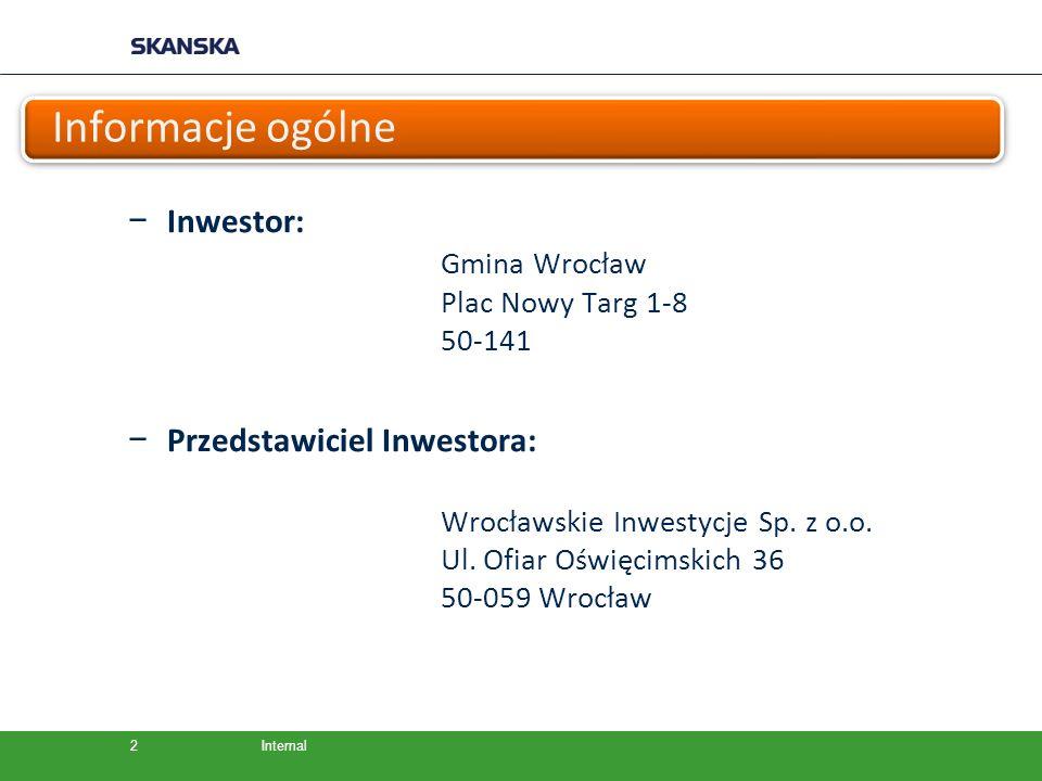 Internal Informacje ogólne − Inwestor: Gmina Wrocław Plac Nowy Targ 1-8 50-141 − Przedstawiciel Inwestora: Wrocławskie Inwestycje Sp. z o.o. Ul. Ofiar