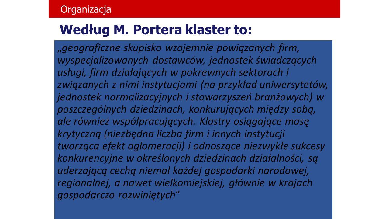 """Według M. Portera klaster to: """"geograficzne skupisko wzajemnie powiązanych firm, wyspecjalizowanych dostawców, jednostek świadczących usługi, firm dzi"""