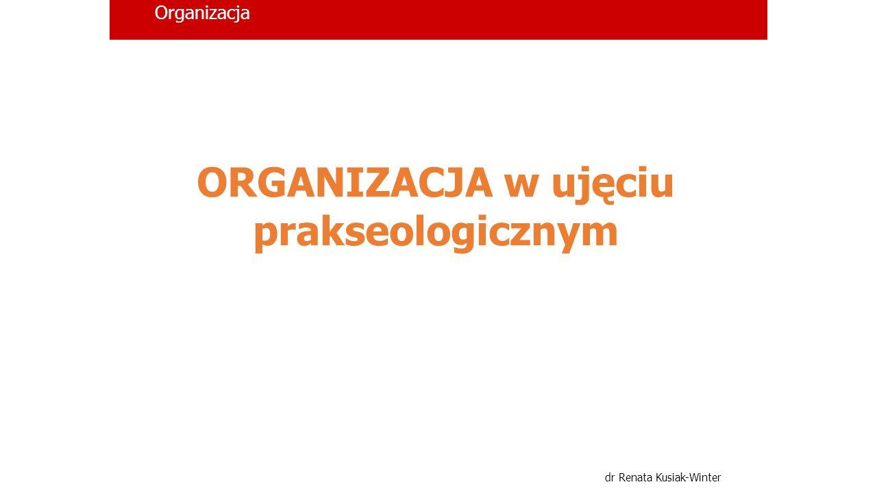 Organizacja dr Renata Kusiak-Winter Pojęcie ORGANIZACJI wieloznaczność terminu organizacja