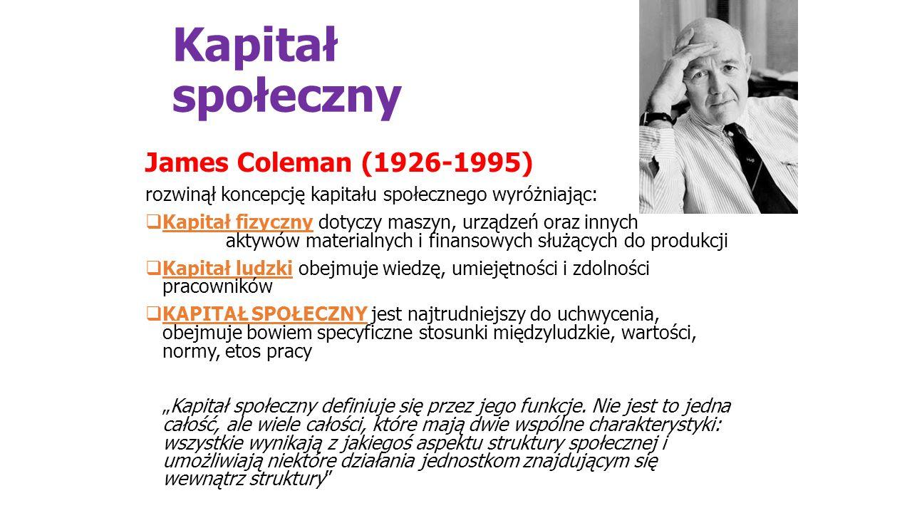 Kapitał społeczny James Coleman (1926-1995) rozwinął koncepcję kapitału społecznego wyróżniając:  Kapitał fizyczny dotyczy maszyn, urządzeń oraz inny