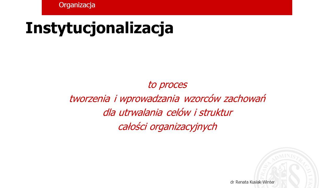 Organizacja dr Renata Kusiak-Winter Instytucjonalizacja to proces tworzenia i wprowadzania wzorców zachowań dla utrwalania celów i struktur całości or