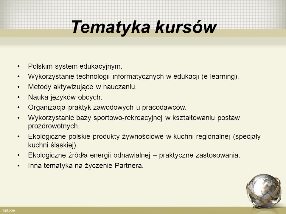 Tematyka kursów Polskim system edukacyjnym.