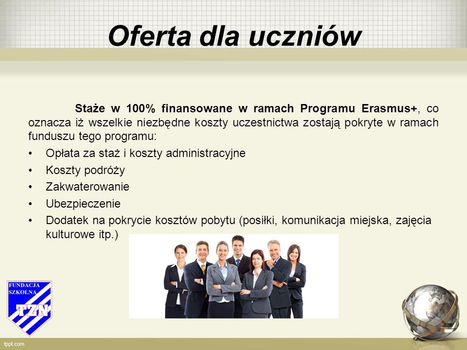 Oferta dla uczniów Staże w 100% finansowane w ramach Programu Erasmus+, co oznacza iż wszelkie niezbędne koszty uczestnictwa zostają pokryte w ramach funduszu tego programu: Opłata za staż i koszty administracyjne Koszty podróży Zakwaterowanie Ubezpieczenie Dodatek na pokrycie kosztów pobytu (posiłki, komunikacja miejska, zajęcia kulturowe itp.)