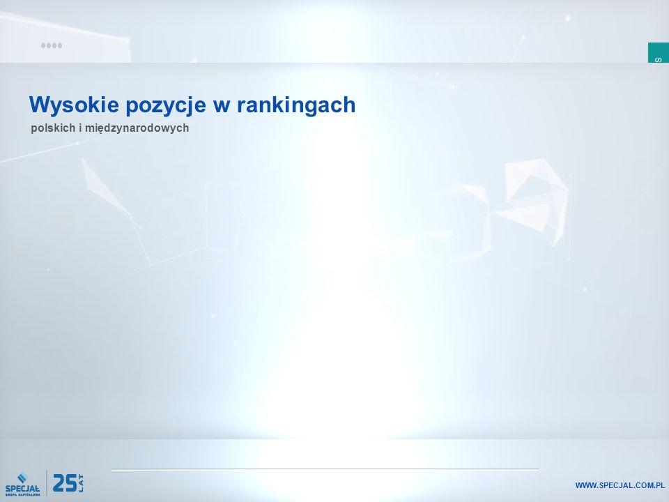 SLAJD 13 WWW.SPECJAL.COM.PL Wysokie pozycje w rankingach polskich i międzynarodowych