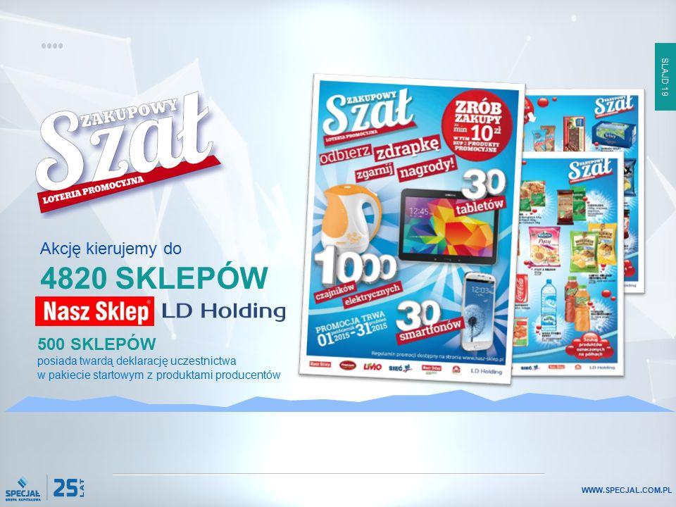 SLAJD 19 WWW.SPECJAL.COM.PL 500 SKLEPÓW posiada twardą deklarację uczestnictwa w pakiecie startowym z produktami producentów Akcję kierujemy do 4820 S