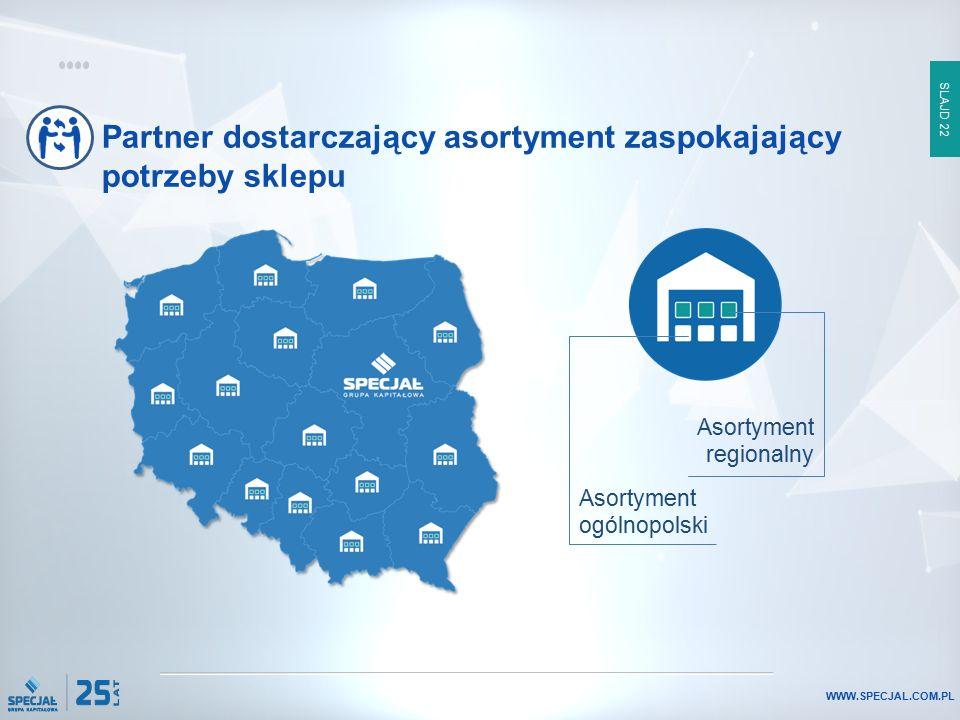 SLAJD 22 WWW.SPECJAL.COM.PL Partner dostarczający asortyment zaspokajający potrzeby sklepu Asortyment regionalny Asortyment ogólnopolski