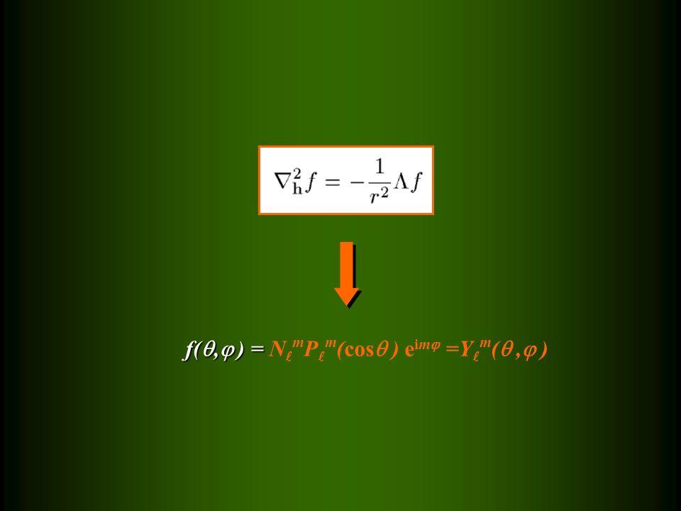 f( ,  ) = f( ,  ) = N m P m (cos  ) e im  =Y m ( ,  )
