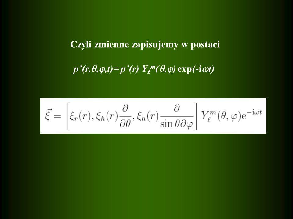 Czyli zmienne zapisujemy w postaci p'(r, , ,t)= p'(r) Y m ( ,  ) exp(-i  t)