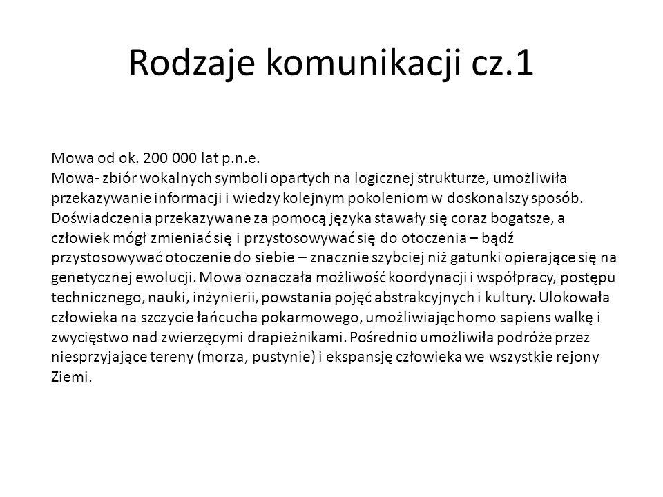 Rodzaje komunikacji cz.1 Mowa od ok. 200 000 lat p.n.e. Mowa- zbiór wokalnych symboli opartych na logicznej strukturze, umożliwiła przekazywanie infor