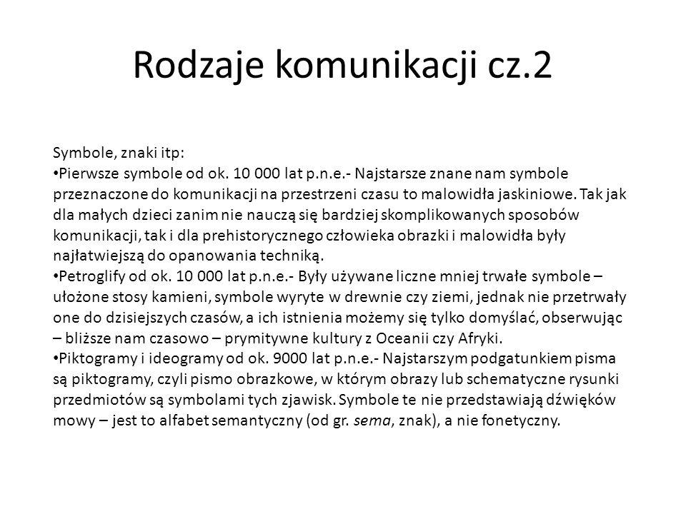 Rodzaje komunikacji cz.2 Symbole, znaki itp: Pierwsze symbole od ok. 10 000 lat p.n.e.- Najstarsze znane nam symbole przeznaczone do komunikacji na pr