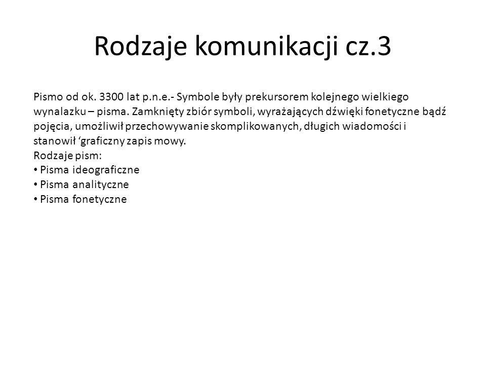 Rodzaje komunikacji cz.3 Pismo od ok. 3300 lat p.n.e.- Symbole były prekursorem kolejnego wielkiego wynalazku – pisma. Zamknięty zbiór symboli, wyraża