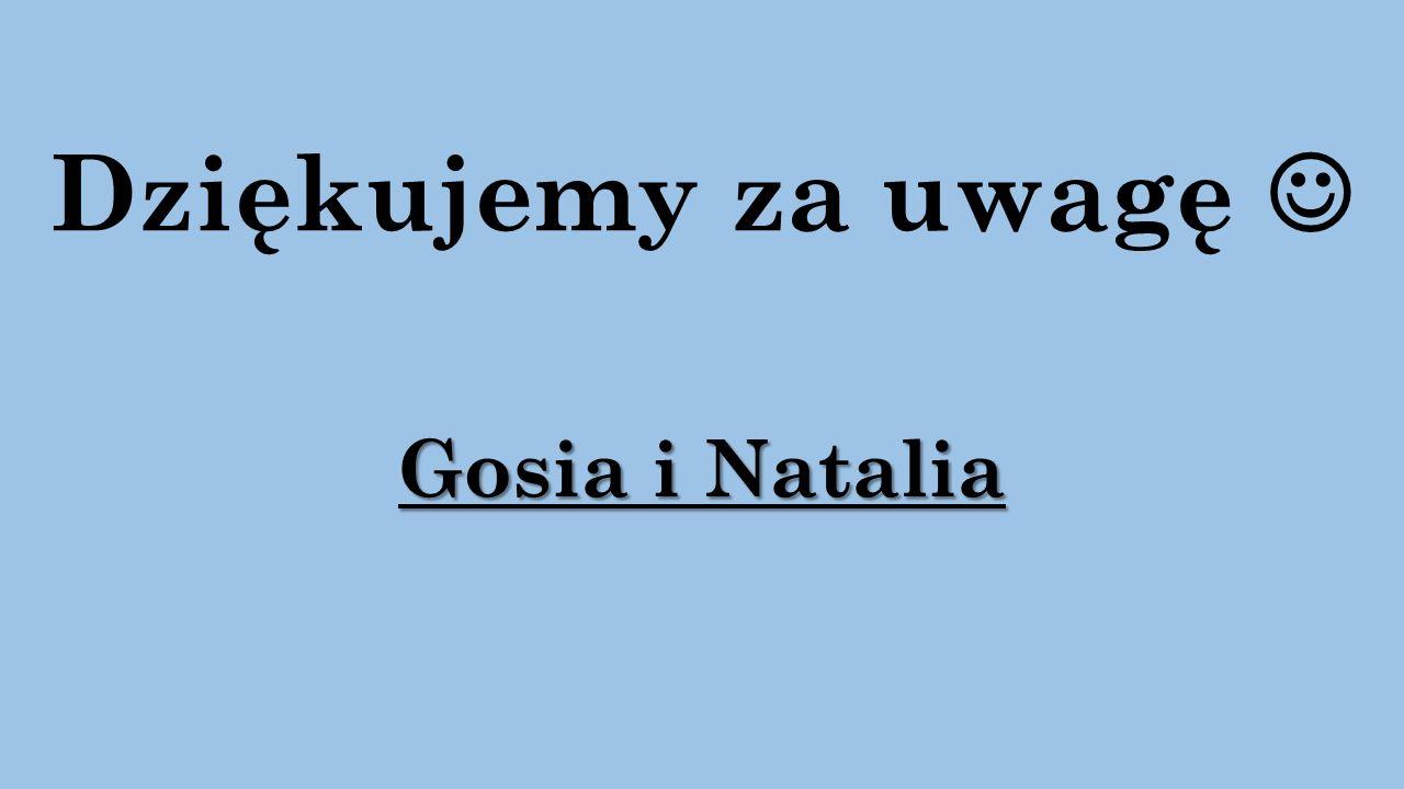Dziękujemy za uwagę Gosia i Natalia