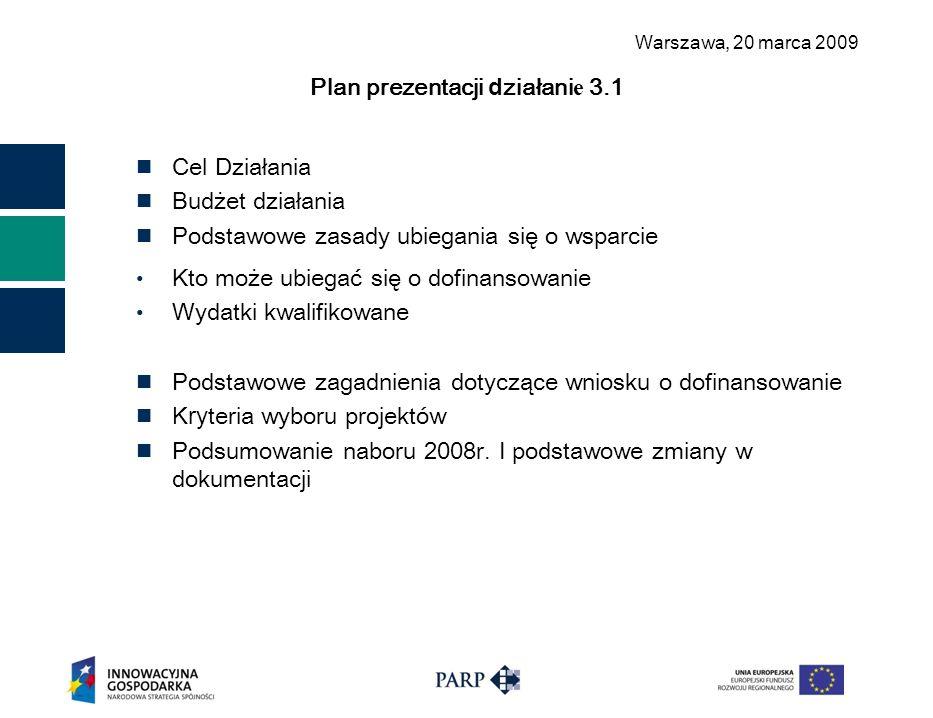 Warszawa, 2 0 marca 2009 Plan prezentacji d ziałani e 3.1 Cel Działania Budżet działania Podstawowe zasady ubiegania się o wsparcie Kto może ubiegać się o dofinansowanie Wydatki kwalifikowane Podstawowe zagadnienia dotyczące wniosku o dofinansowanie Kry teria wyboru projektów Podsumowanie naboru 2008r.