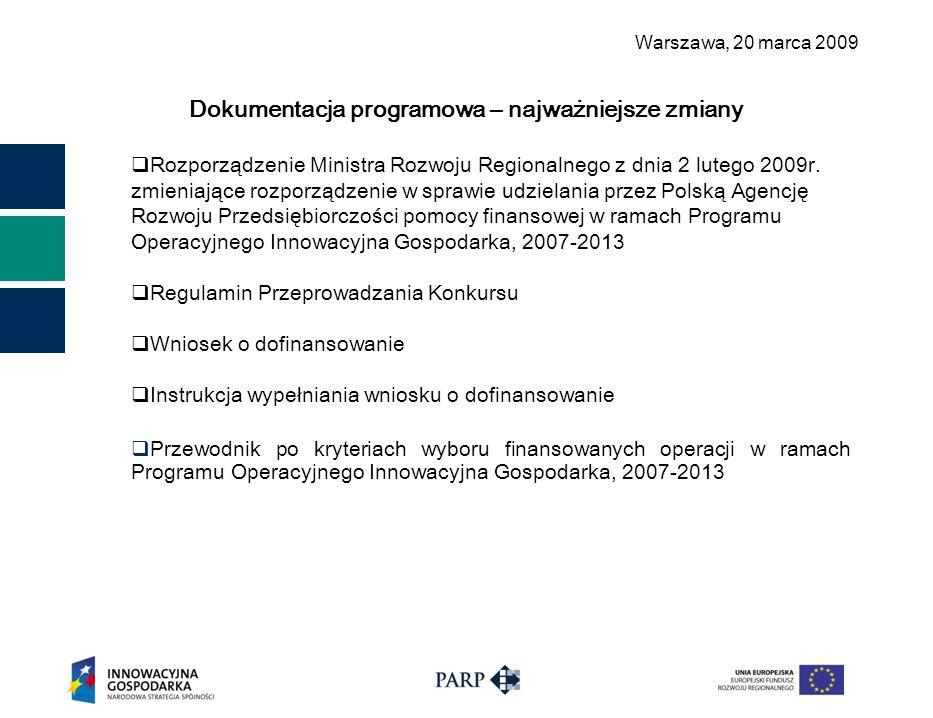 Warszawa, 2 0 marca 2009 Dokumentacja programowa – najważniejsze zmiany  Rozporządzenie Ministra Rozwoju Regionalnego z dnia 2 lutego 2009r. zmieniaj