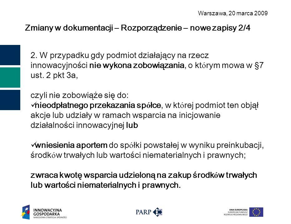 Warszawa, 2 0 marca 2009 Zmiany w dokumentacji – Rozporządzenie – nowe zapisy 2/4 2. W przypadku gdy podmiot działający na rzecz innowacyjności nie wy