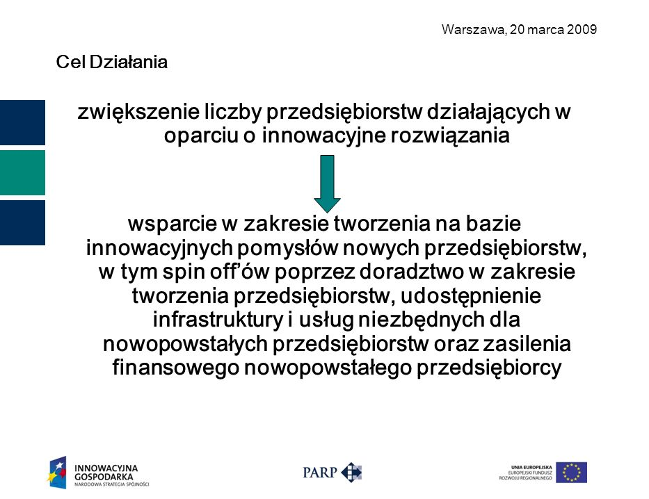 Warszawa, 2 0 marca 2009 Cel Działania zwiększenie liczby przedsiębiorstw działających w oparciu o innowacyjne rozwiązania wsparcie w zakresie tworzen