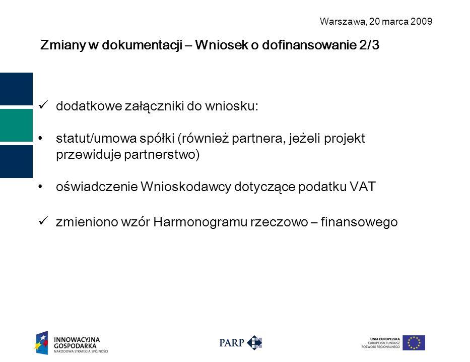 Warszawa, 2 0 marca 2009 Zmiany w dokumentacji – Wniosek o dofinansowanie 2/3 dodatkowe załączniki do wniosku: statut/umowa spółki (również partnera, jeżeli projekt przewiduje partnerstwo) oświadczenie Wnioskodawcy dotyczące podatku VAT zmieniono wzór Harmonogramu rzeczowo – finansowego