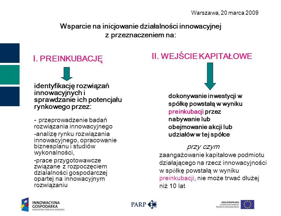 Warszawa, 2 0 marca 2009 Wsparcie na inicjowanie działalności innowacyjnej z przeznaczeniem na: identyfikację rozwiązań innowacyjnych i sprawdzanie ic