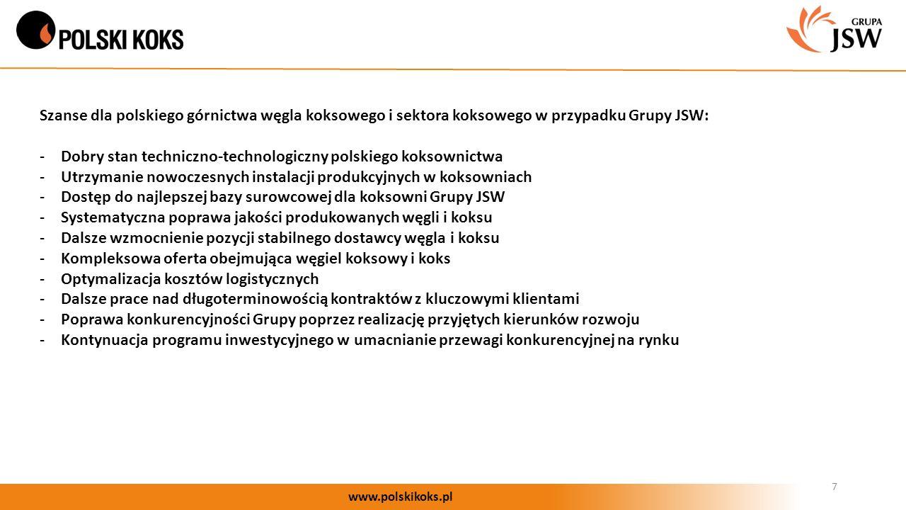 7 www.polskikoks.pl Szanse dla polskiego górnictwa węgla koksowego i sektora koksowego w przypadku Grupy JSW: -Dobry stan techniczno-technologiczny polskiego koksownictwa -Utrzymanie nowoczesnych instalacji produkcyjnych w koksowniach -Dostęp do najlepszej bazy surowcowej dla koksowni Grupy JSW -Systematyczna poprawa jakości produkowanych węgli i koksu -Dalsze wzmocnienie pozycji stabilnego dostawcy węgla i koksu -Kompleksowa oferta obejmująca węgiel koksowy i koks -Optymalizacja kosztów logistycznych -Dalsze prace nad długoterminowością kontraktów z kluczowymi klientami -Poprawa konkurencyjności Grupy poprzez realizację przyjętych kierunków rozwoju -Kontynuacja programu inwestycyjnego w umacnianie przewagi konkurencyjnej na rynku