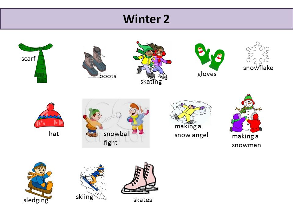making a snowman hat skiing snowball fight boots gloves scarf snowflake skating sledging making a snow angel Winter 2 skates