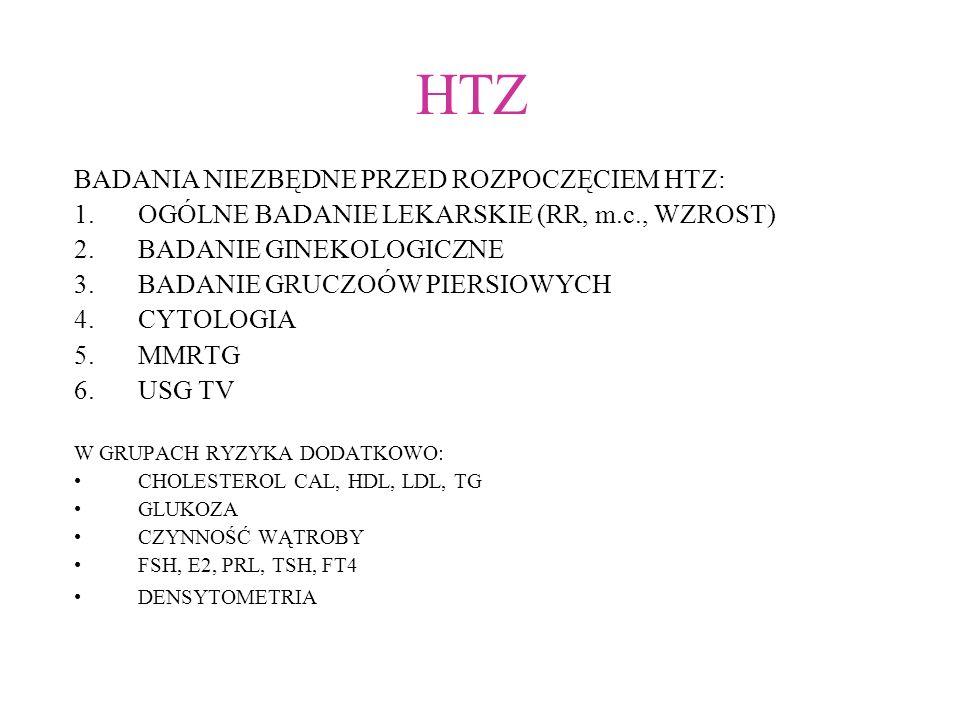 HTZ BADANIA NIEZBĘDNE PRZED ROZPOCZĘCIEM HTZ: 1.OGÓLNE BADANIE LEKARSKIE (RR, m.c., WZROST) 2.BADANIE GINEKOLOGICZNE 3.BADANIE GRUCZOÓW PIERSIOWYCH 4.CYTOLOGIA 5.MMRTG 6.USG TV W GRUPACH RYZYKA DODATKOWO: CHOLESTEROL CAL, HDL, LDL, TG GLUKOZA CZYNNOŚĆ WĄTROBY FSH, E2, PRL, TSH, FT4 DENSYTOMETRIA