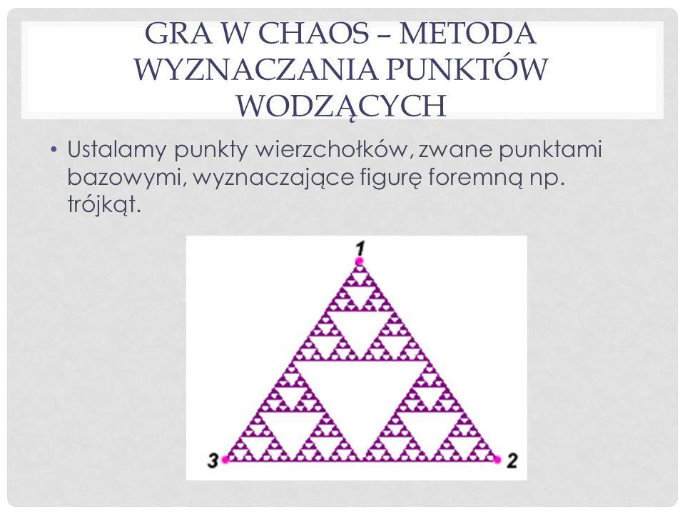 GRA W CHAOS – METODA WYZNACZANIA PUNKTÓW WODZĄCYCH Ustalamy punkty wierzchołków, zwane punktami bazowymi, wyznaczające figurę foremną np.
