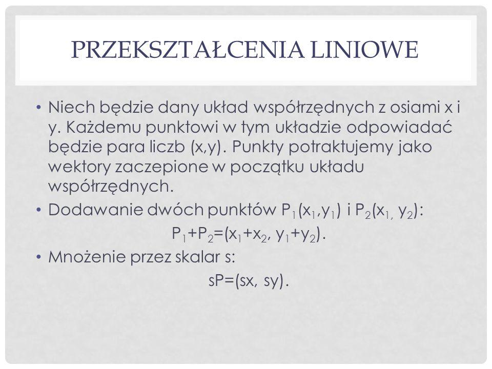 PRZEKSZTAŁCENIA LINIOWE Niech będzie dany układ współrzędnych z osiami x i y.