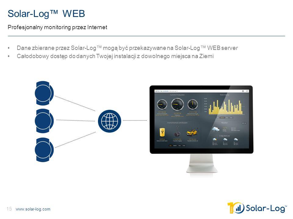 www.solar-log.com 15 Solar-Log™ WEB Profesjonalny monitoring przez Internet Dane zbierane przez Solar-Log™ mogą być przekazywane na Solar-Log™ WEB server Całodobowy dostęp do danych Twojej instalacji z dowolnego miejsca na Ziemi