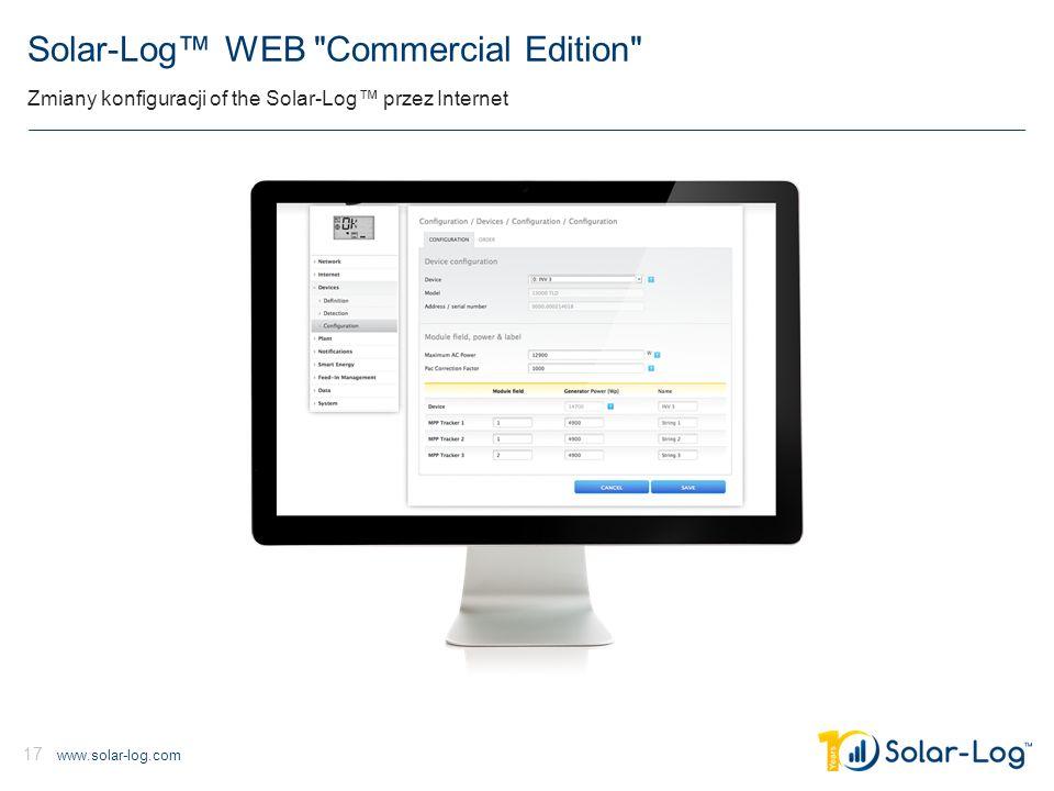 www.solar-log.com 17 Solar-Log™ WEB Commercial Edition Zmiany konfiguracji of the Solar-Log™ przez Internet