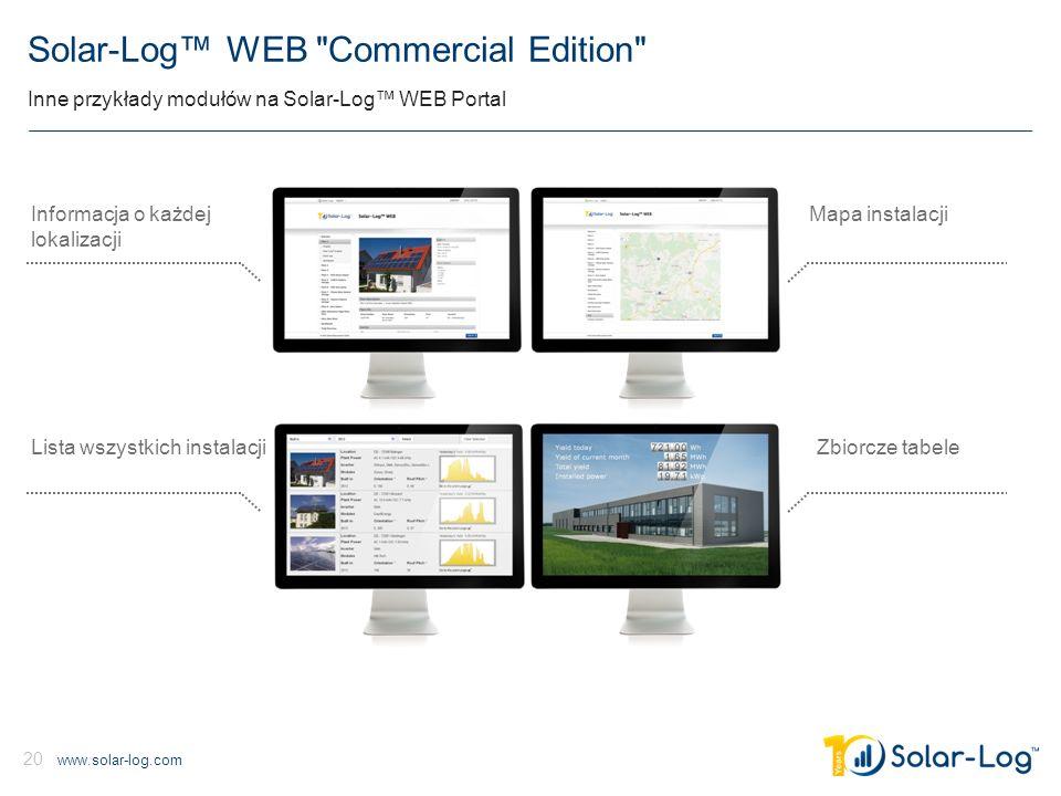 www.solar-log.com 20 Solar-Log™ WEB Commercial Edition Inne przykłady modułów na Solar-Log™ WEB Portal Mapa instalacji Zbiorcze tabele Informacja o każdej lokalizacji Lista wszystkich instalacji