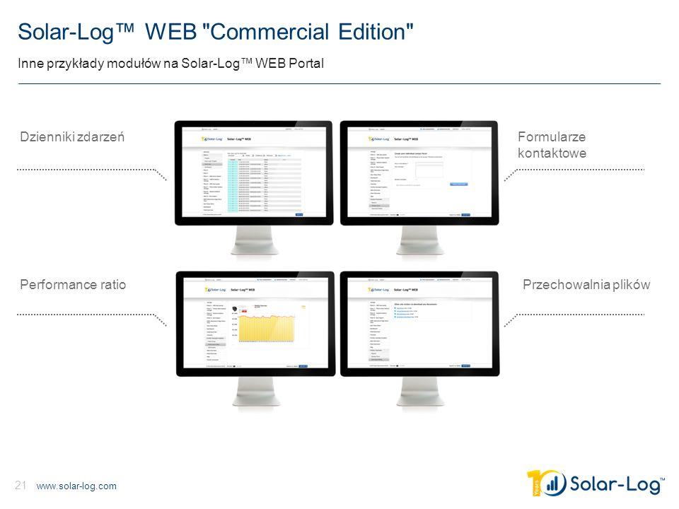 www.solar-log.com 21 Solar-Log™ WEB Commercial Edition Inne przykłady modułów na Solar-Log™ WEB Portal Formularze kontaktowe Przechowalnia plików Dzienniki zdarzeń Performance ratio