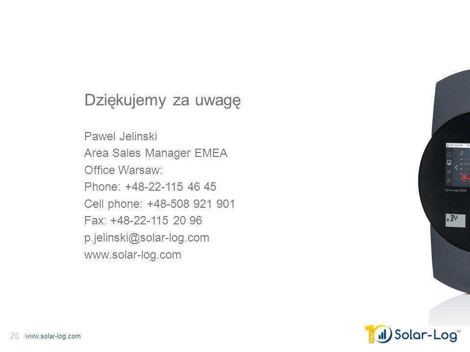 www.solar-log.com 25 Dziękujemy za uwagę Pawel Jelinski Area Sales Manager EMEA Office Warsaw: Phone: +48-22-115 46 45 Cell phone: +48-508 921 901 Fax