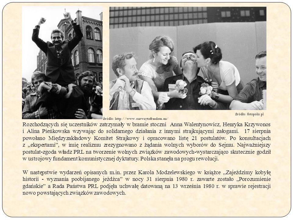 Rozchodzących się uczestników zatrzymały w bramie stoczni Anna Walentynowicz, Henryka Krzywonos i Alina Pieńkowska wzywając do solidarnego działania z