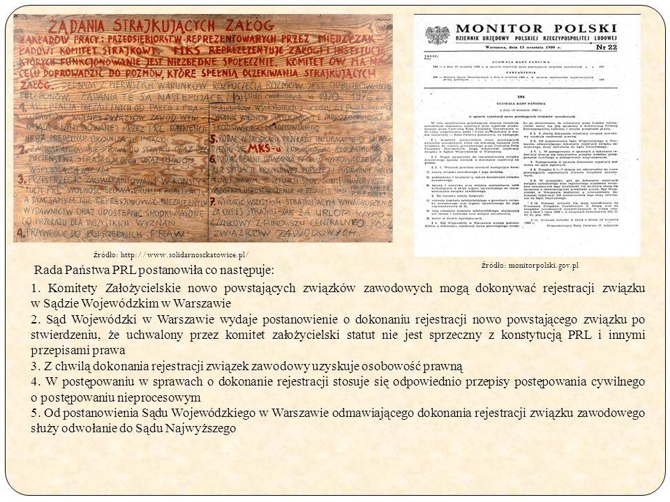 Rada Państwa PRL postanowiła co następuje: 1. Komitety Założycielskie nowo powstających związków zawodowych mogą dokonywać rejestracji związku w Sądzi