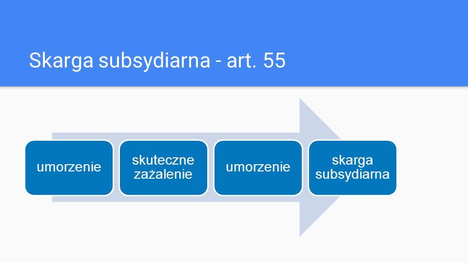Skarga subsydiarna - art. 55 umorzenie skuteczne zażalenie umorzenie skarga subsydiarna