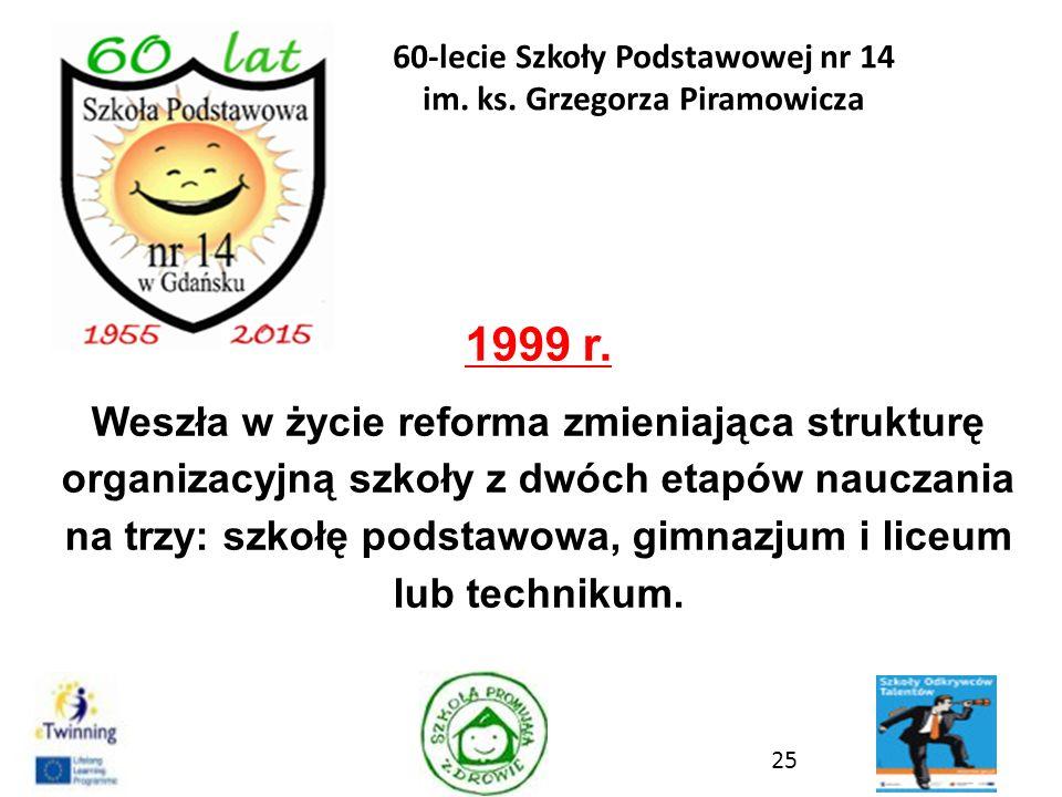 1999 r. Weszła w życie reforma zmieniająca strukturę organizacyjną szkoły z dwóch etapów nauczania na trzy: szkołę podstawowa, gimnazjum i liceum lub