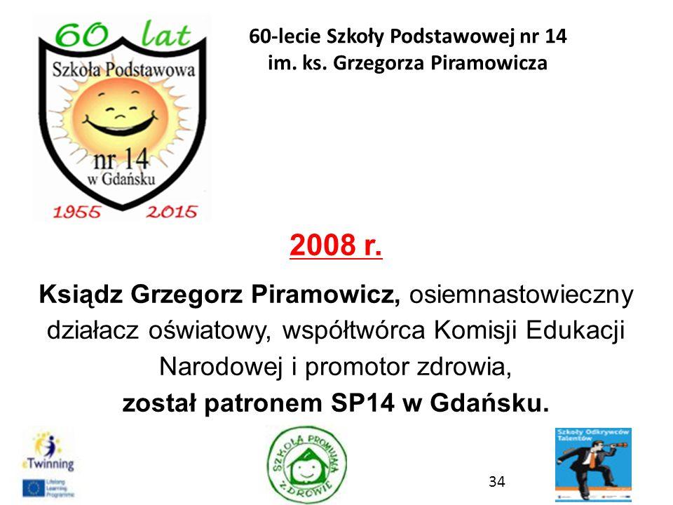 2008 r. Ksiądz Grzegorz Piramowicz, osiemnastowieczny działacz oświatowy, współtwórca Komisji Edukacji Narodowej i promotor zdrowia, został patronem S