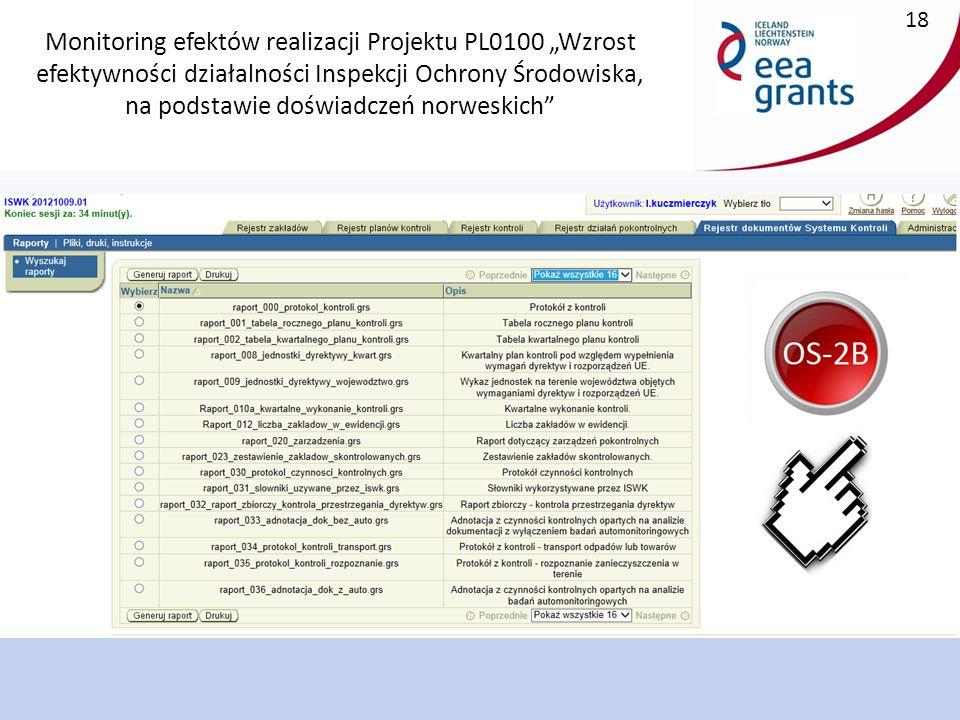 """Monitoring efektów realizacji Projektu PL0100 """"Wzrost efektywności działalności Inspekcji Ochrony Środowiska, na podstawie doświadczeń norweskich 18"""