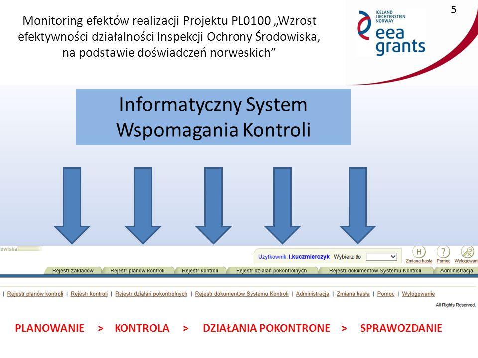 """Monitoring efektów realizacji Projektu PL0100 """"Wzrost efektywności działalności Inspekcji Ochrony Środowiska, na podstawie doświadczeń norweskich 6 Propozycja zmian: Ujednolicić wygląd modułów służących do wyszukiwania danych tak, aby w każdym rejestrze ISWK pola o tym samym kryterium wyszukiwania występowały w tym samym miejscu."""