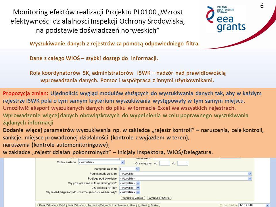 """Monitoring efektów realizacji Projektu PL0100 """"Wzrost efektywności działalności Inspekcji Ochrony Środowiska, na podstawie doświadczeń norweskich 17 Działania pokontrolne, sprawozdawczość Propozycje zmian -Możliwość rejestracji decyzji i wniosków nie związanych z kontrolą – indywidualnie wg potrzeb wioś."""