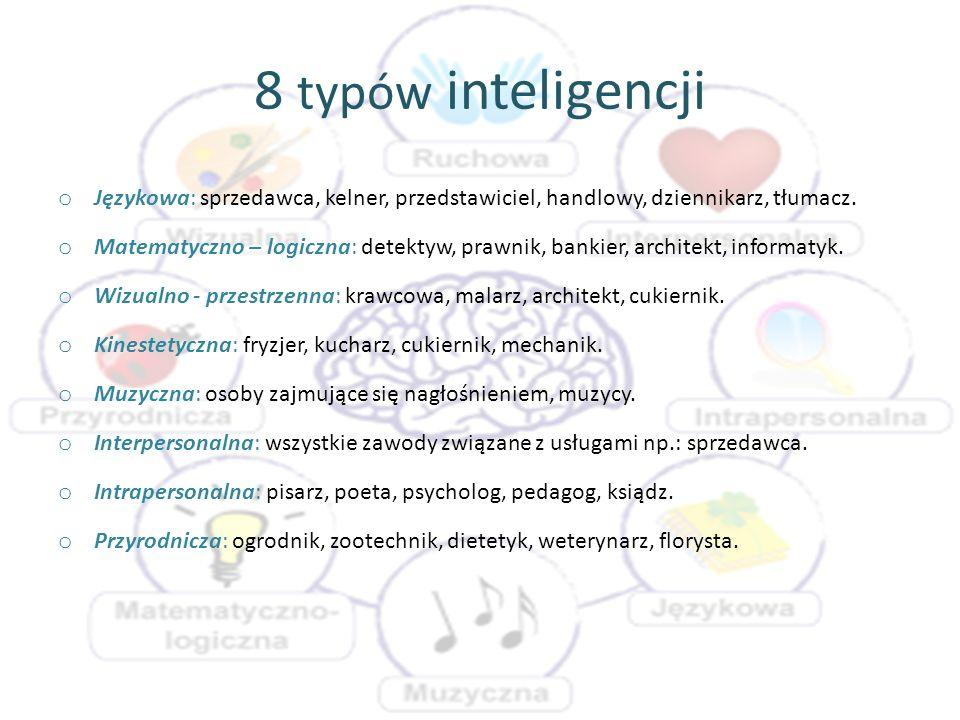 8 typów inteligencji o Językowa: sprzedawca, kelner, przedstawiciel, handlowy, dziennikarz, tłumacz. o Matematyczno – logiczna: detektyw, prawnik, ban