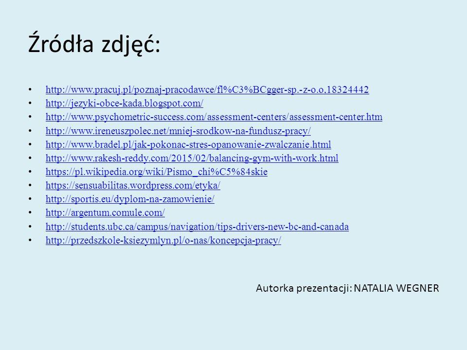 Źródła zdjęć: http://www.pracuj.pl/poznaj-pracodawce/fl%C3%BCgger-sp.-z-o.o,18324442 http://jezyki-obce-kada.blogspot.com/ http://www.psychometric-suc
