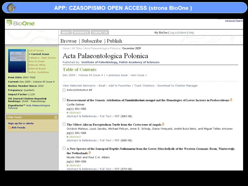 APP: CZASOPISMO OPEN ACCESS (strona BioOne )